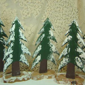 Lot of 5 wood cutout trees--for project